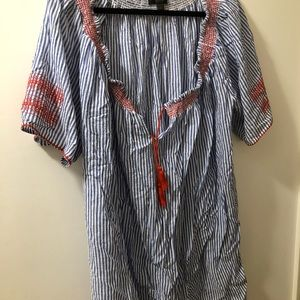 J.Crew seersucker coverup with red embroidery
